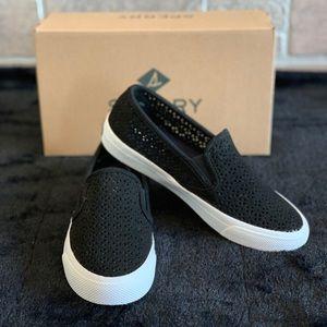 Sperry Seaside Perforated Black Sneaker